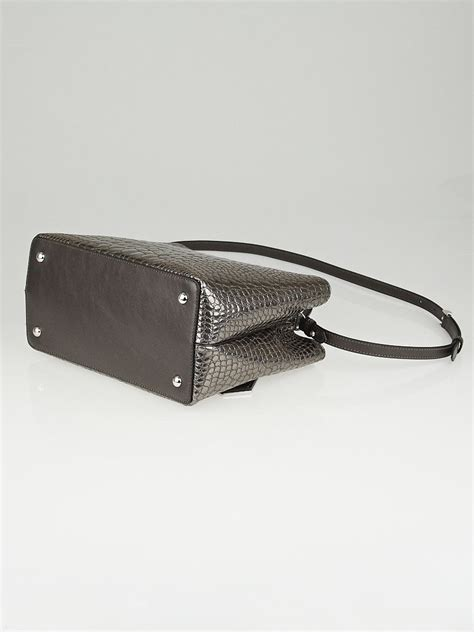 Fendi Mirrored Wallet by Fendi Silver Mirror Croc Print Quilted Patent Leather