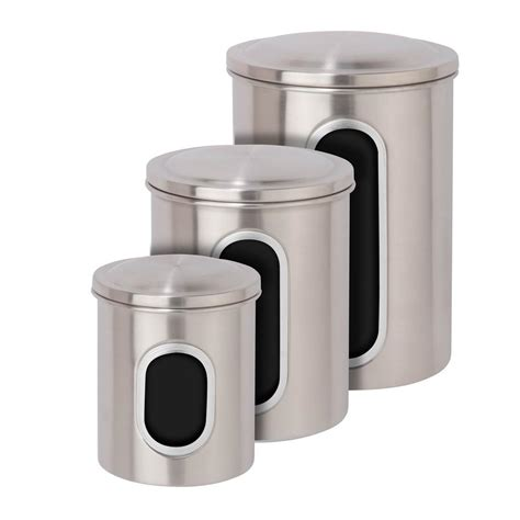 Window Canister Package honey can do metal storage canisters in stainless steel 3