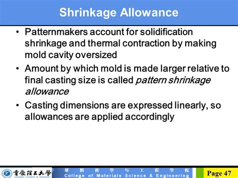 pattern shrinkage allowance casting basic concept ppt download