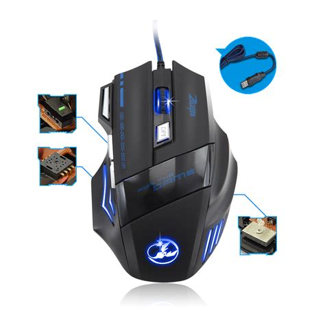 Mouse Gaming 7 Buttons 5500dpi With Led Multicolor 7 Button Led Optical Usb Wired Gaming Mouse Mice 5500dpi