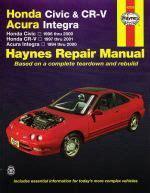 haynes repair manual honda civic cr v honda civic 2001 through 2010 honda cr v 2002 1996 2000 honda civic 97 01 crv 94 00 integra haynes manual