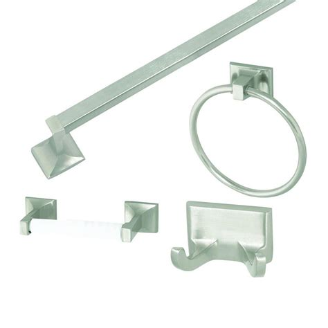 design house millbridge 4 bathroom accessory kit in satin nickel 534644 the home depot