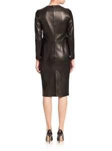 la prestic ouiston parfaite long sleeve leather dress in