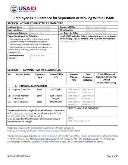exit form aid 451 1 employee exit clearance for separating or