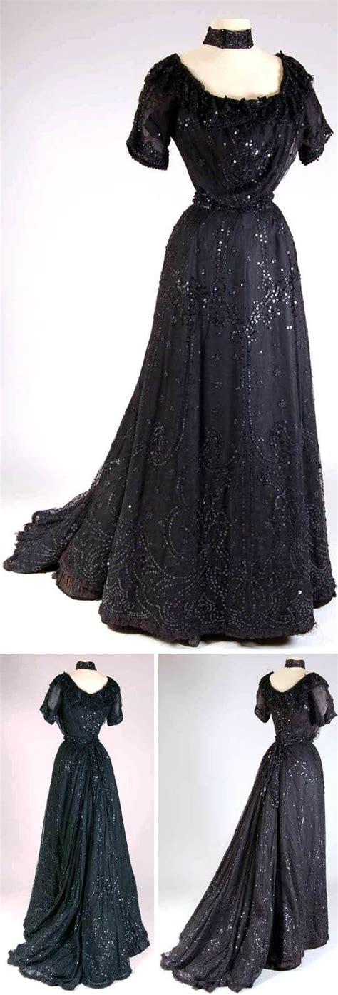 Satin Silk 05 dress ca 1900 05 silk satin tulle sequins