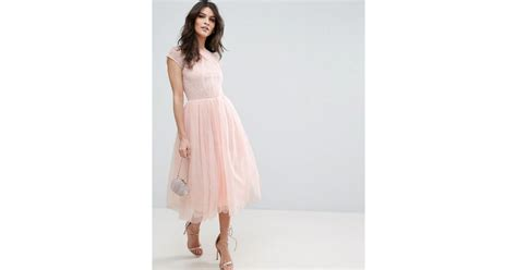 Flat Wedges Dolce Gabbana 81 Semi Premium Bahan Fabric Leather Bordi lyst asos premium lace tulle midi prom dress in pink