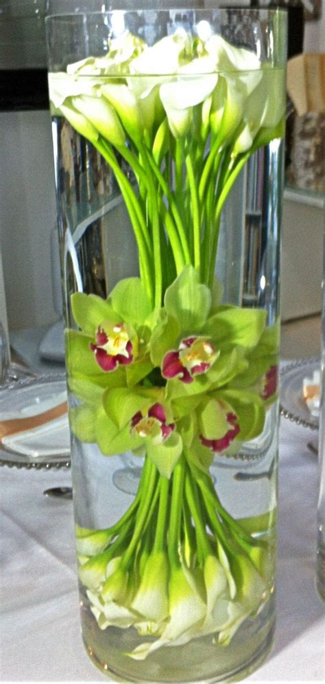 Flower Water Vase Centerpiece by Cool Calla Lilly And Orchid Water Flower Corporate