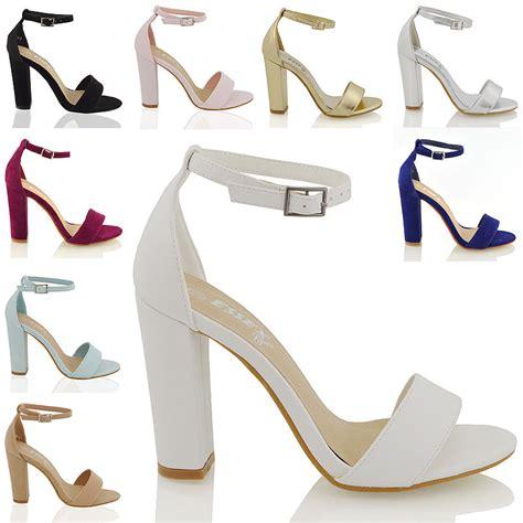 womens block heel ankle sandals peep toe