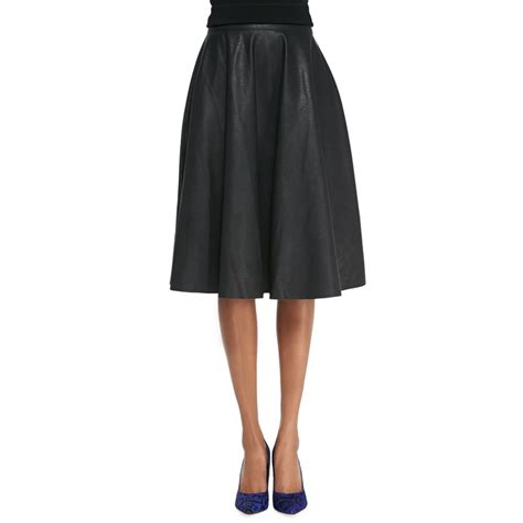 rank style connection faux leather flared skirt