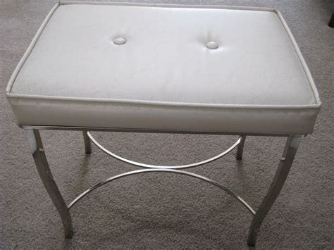 white vanity bench vintage chrome white vinyl padded vanity bench stool chair