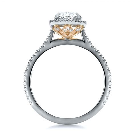 Two Tone Halo Engagement Ring - custom two tone halo engagement ring 100572