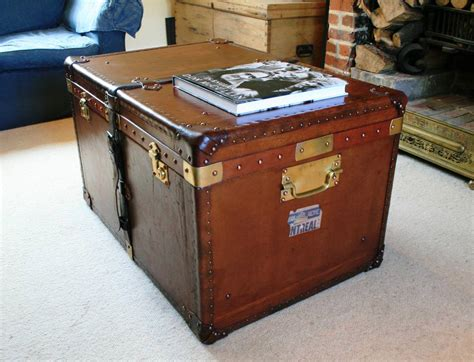 Antique Louis Vuitton Wooden Steamer Trunk Coffee Table Modern Trunk Coffee Table