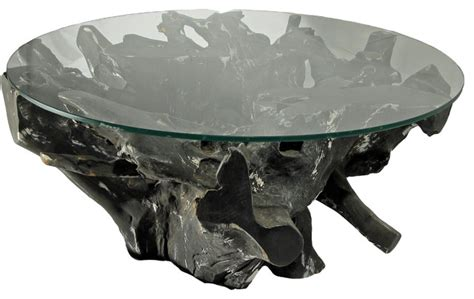 Tree Trunk Glass Coffee Table Teak Tree Trunk Glass Coffee Table Black Color Contemporary Coffee Tables By