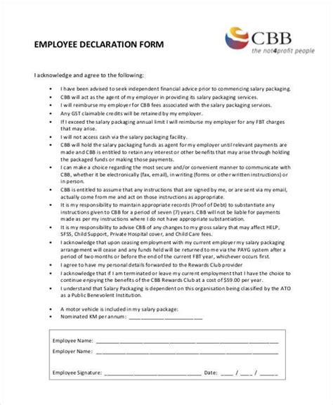 declaration form template employment declaration form sles 8 free sle