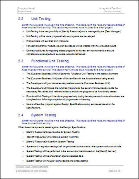 software test policy template acceptance test plan template ms word instant