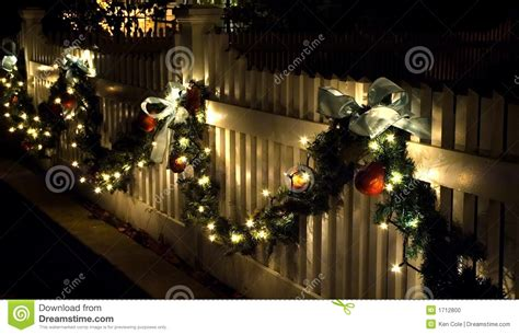 holiday fence decorations stock photo image of bows