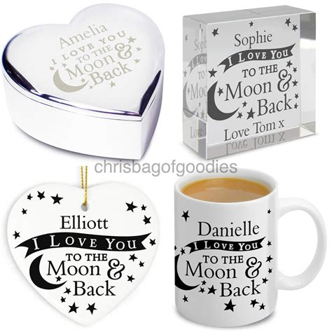 personalised i love you to the moon and back gifts for her
