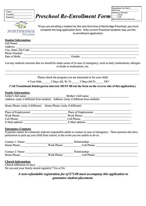 preschool enrollment form template top 8 preschool enrollment form templates free to
