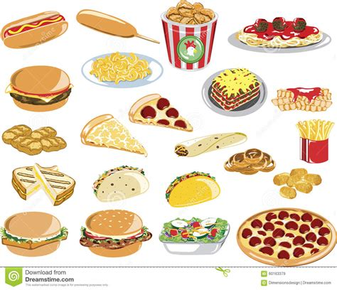 images of food assorted fast food icons stock vector image 60163379