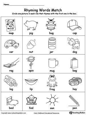 printable preschool rhyming activities words that rhyme for kindergarten worksheets