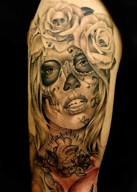 sugar skull tattoo with roses collection of 25 glowing mexican sugar skull on arm