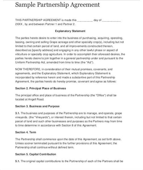 sle business partnership agreement startup partnership agreement template 28 images