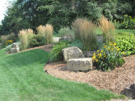 Landscaping Ideas Midwest Front Yard Landscape Stones Will County Illinois Ornamental Grasses