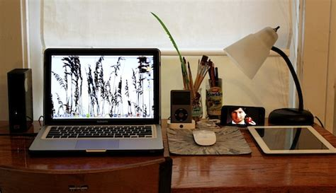 macbook pro desk setup mac setups simple desk with a great apple collection