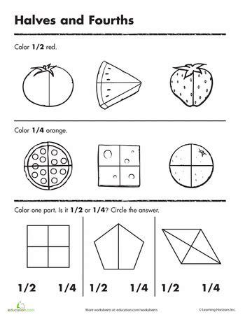 printable half and quarter worksheets beginning fractions halves fourths worksheets and math