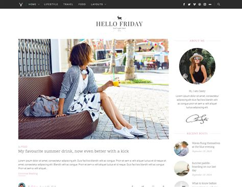 blogger lifestyle hello friday elegant lifestyle blog theme by heroplugins