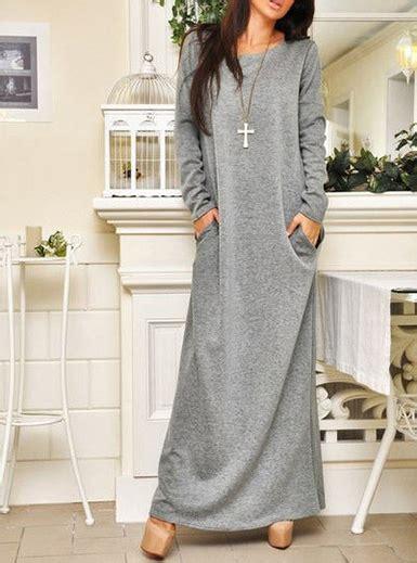 casual long sleeve maxi dress medium gray  slit pocket