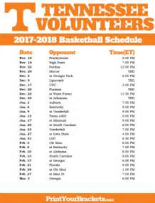 Ut Basketball Schedule Printable Tennessee Volunteers 2016 2017 Basketball Schedule