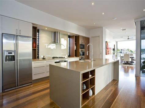 modern island kitchen design using wood panelling modern kitchen dining kitchen design using floorboards