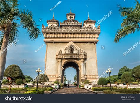 Sanjaya Literally Means Victory by Patuxai Literally Meaning Victory Gate Gate Stock Photo