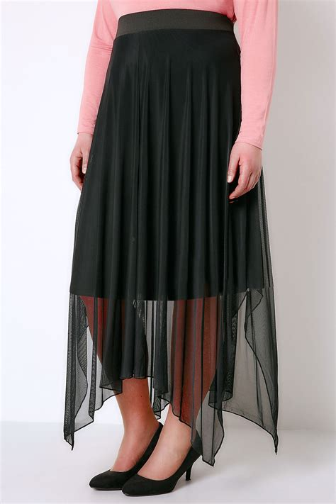 Hanky Hem Skirt black mesh midi skirt with hanky hem plus size 16 to 32