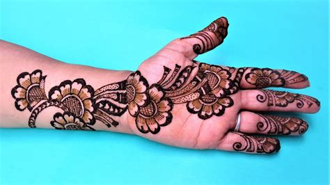 stylish simple floral henna mehndi designs for hands by