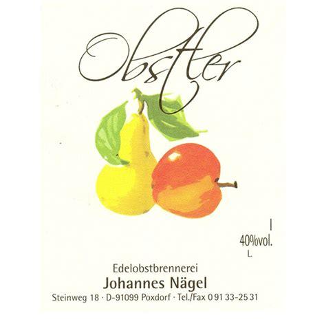Flaschenetiketten Selbst Gestalten Schnaps by Obstler Brennerei N 228 Gel