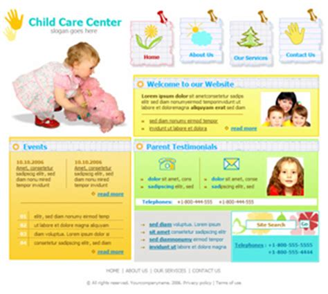 Nursery Website Thenurseries Daycare Website Templates Free