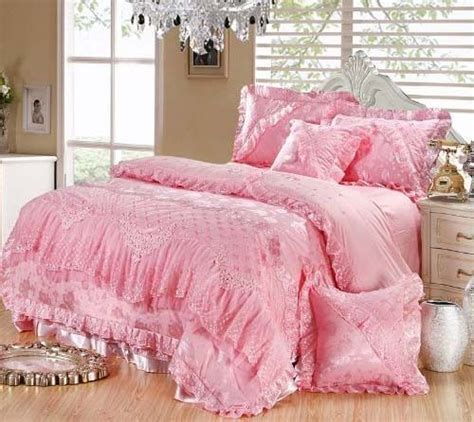 Pink Satin Bedding Sets Luxury Silk Satin Lace Ruffle Pink Embroidery Wedding Bedding Sets 6pc Lace