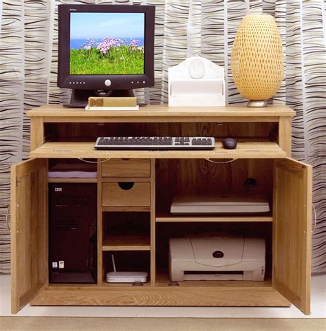 Mobel solid oak office furniture hideaway computer desk