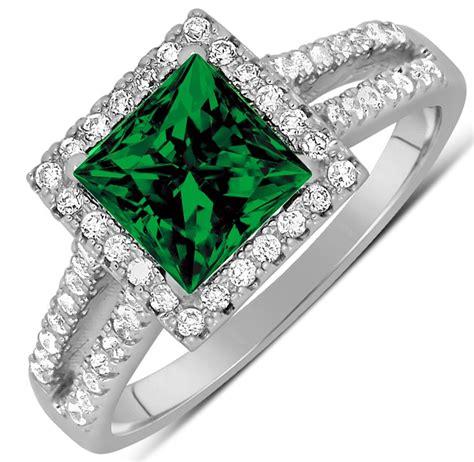 luxurious 1 50 carat princess cut green emerald and