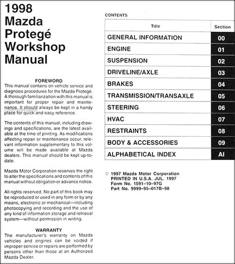1998 mazda protege repair shop manual original 1998 mazda protege repair shop manual original