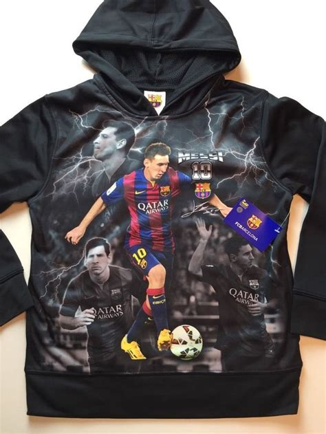 Jacket Sweater Hoodie Barcelona Black Blue boys youth barcelona soccer messi hooded sweater medium