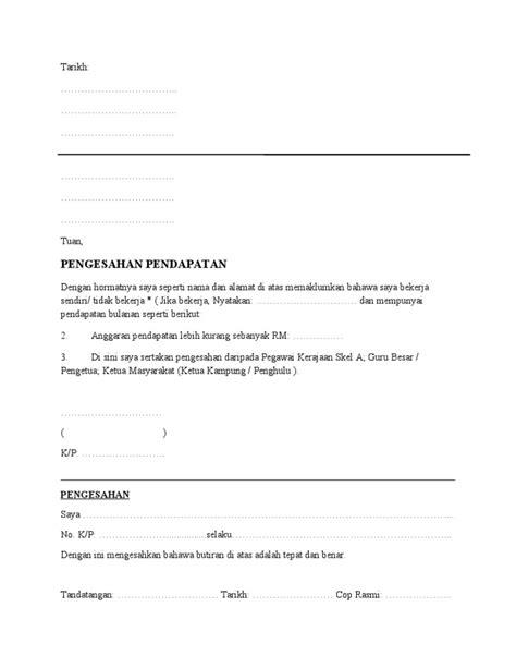 format surat pengesahan gaji dari majikan pengesahan pendapatan