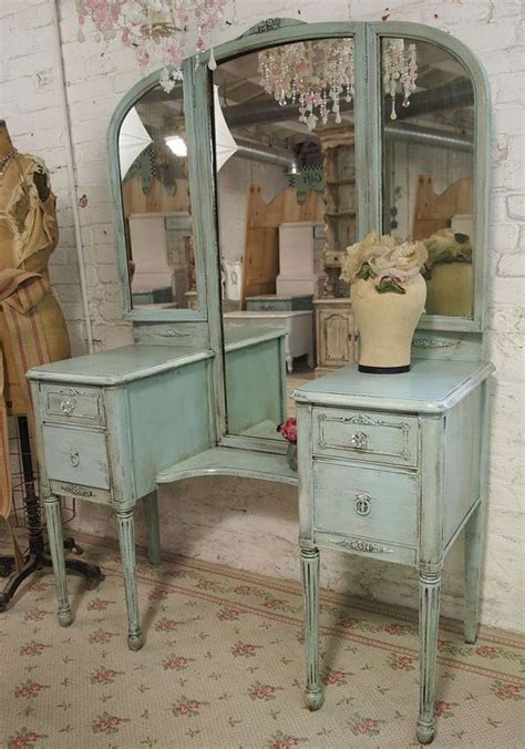Vintage Vanity Table Vintage Painted Cottage Aqua Chic Mirror Vanity Van128