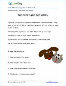free printable first grade reading comprehension