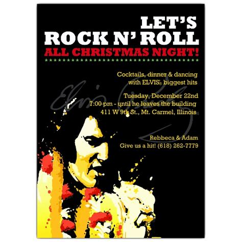 Rock N Roll Christmas Invitations Paperstyle