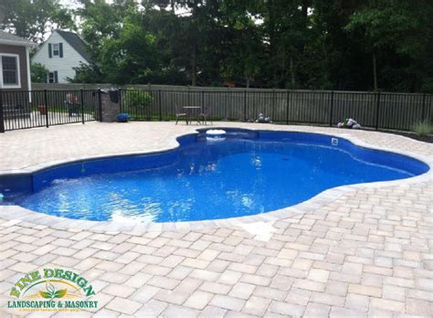Pool Patio And Hearth New Tumblestone Herringbone Pattern Pool Patio New York By