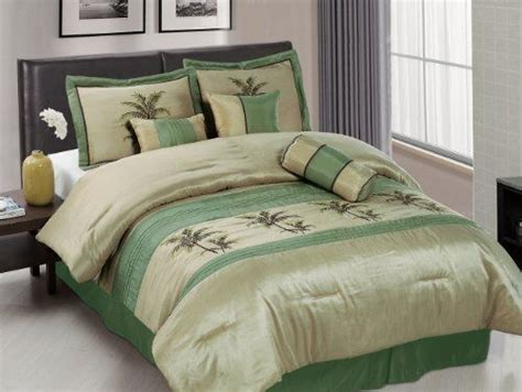 palm comforter set chezmoi collection 7 piece sage green embroidery palm tree