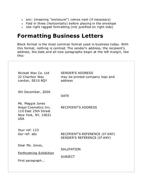 business letter where does enclosure go business letters in